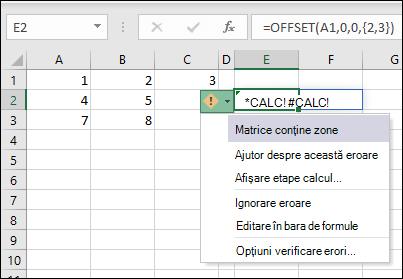 #CALC! eroare-matrice conține zone