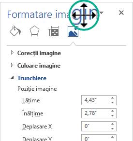 Panoul Formatare imagine într-o stare nefixată: o fereastră free-floating