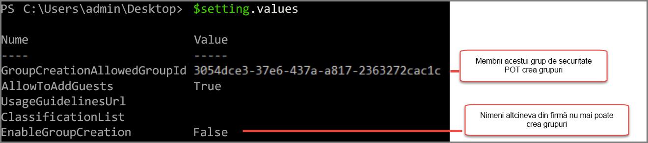 Obiectul Setări de grup cu o valoare care s-a modificat