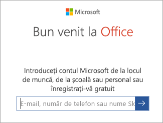 Introduceți adresa de e-mail a contului dvs. Microsoft sau contul Office 365