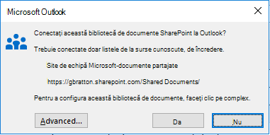 Conectarea la o bibliotecă de documente SharePoint