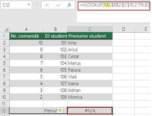 Eroarea N/A din VLOOKUP atunci când valoarea de căutare este mai mică decât cea mai mică valoare din matrice