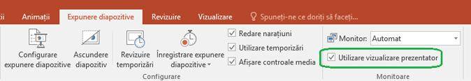 Fila Expunere diapozitive din PowerPoint are o casetă de selectare pentru a controla dacă Vizualizarea prezentator este utilizată atunci când faceți o prezentare pentru alte persoane.