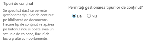 Permiteți gestionarea tipurilor de conținut buton de sub Setări complexe