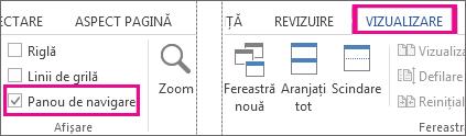 Imagine care afișează panoul de navigare de selectare de sub vizualizare