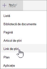 Linkul selectați Noutăți din meniul + nou