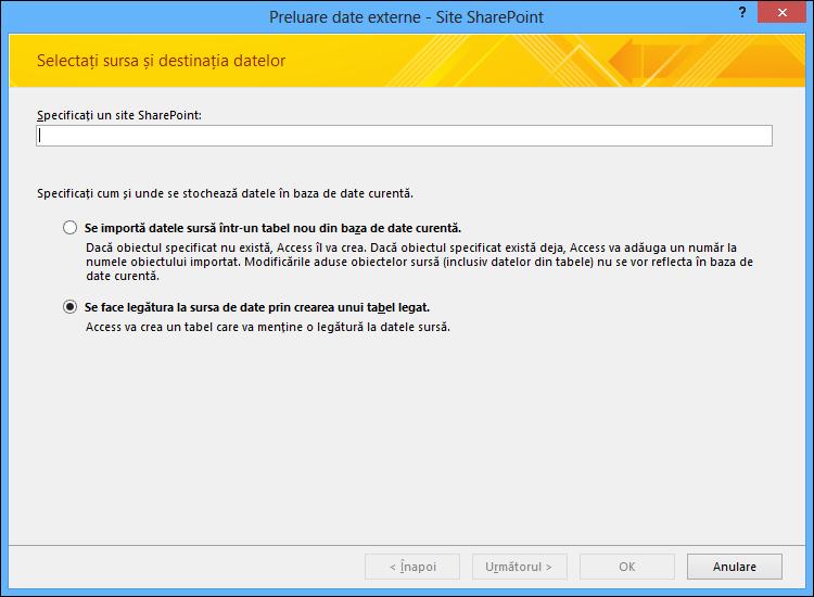 Selectați dacă importați sau legați la un site SharePoint în caseta de dialog Preluare date externe - Site-ul SharePoint.