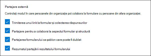 Setări de administrare Microsoft Forms pentru partajare externă