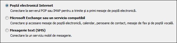 Outlook 2010 - Alegeți serviciul pentru un cont nou
