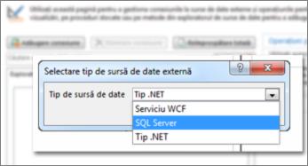Captură de ecran a dialogului Adăugare conexiune unde puteți să alegeți un tip de sursă de date. În acest caz, tipul este SQL Server, care poate fi utilizat pentru conectarea la SQL Azure.