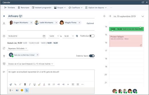 Programarea unei întâlniri în Outlook pe web
