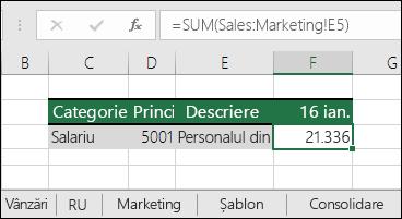 Formulă referințe foaie 3D Excel