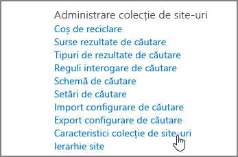 Caracteristică colecție site-uri selectate în meniul de administrare colecție de Site, sub Setări