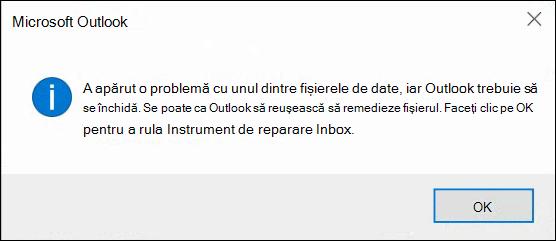 Ceva este în neregulă cu unul dintre fișierele de date și Outlook trebuie să se închidă.