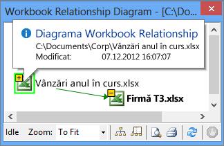 Informațiile Diagramă relații registru de lucru dintr-o fereastră popup