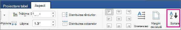 Fila aspect tabel cu opțiunea sortare evidențiată.