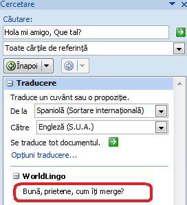 Caseta de dialog Opțiuni traducere