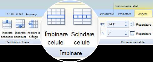 Îmbinarea sau scindarea celulelor de tabel