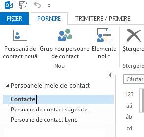 Sub Persoanele mele de contact, faceți clic dreapta pe folderul Persoane de contact.