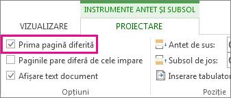 """Imagine afișând caseta de selectare """"Prima pagină diferită"""" sub Opțiuni în instrumentele Antet și subsol."""