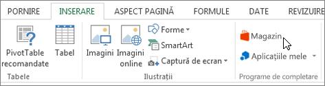 Captură de ecran a unei secțiuni din fila Inserare pe panglica Excel cu o cursorul indicând spre magazin. Selectați stocare să accesați Magazinul Office și căutați completare pentru Excel.