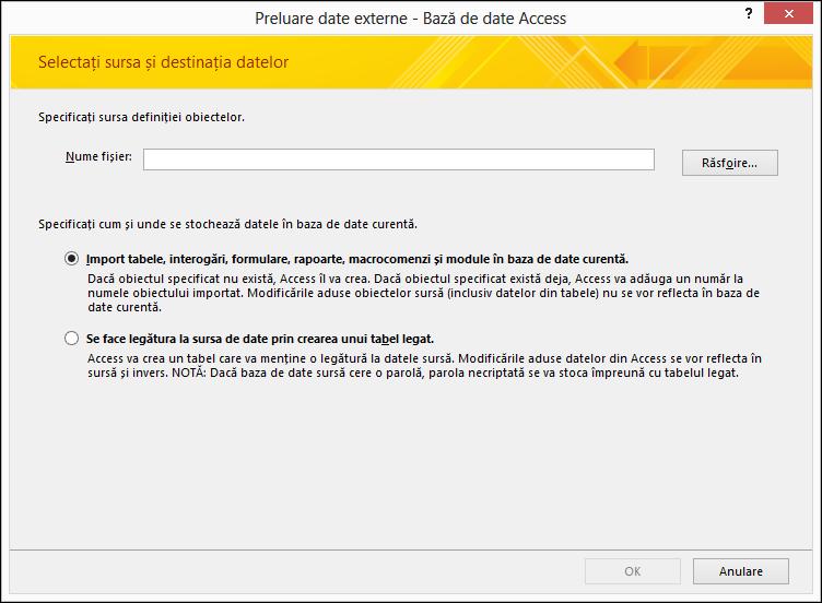 Captură de ecran cu expertul de import Preluare date externe - Bază de date Access