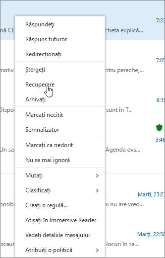 Captura de ecran afișează opțiunea Recuperare selectată după ce un mesaj de e-mail este selectat în folderul Elemente șterse.