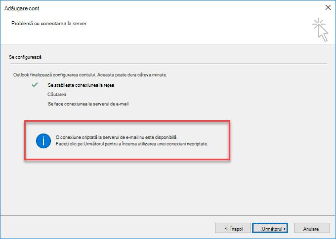 Eroare de conexiune criptată Outlook