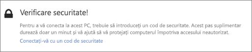 Exemplu de notificare UI de cod de verificare pentru solicitarea de preluare OneDrive