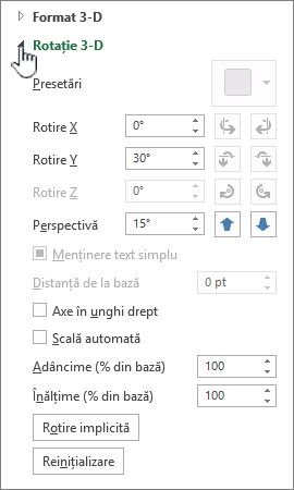 Proprietăți de rotație 3D