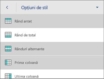 Comanda Opțiuni stil, cu Rând antet selectat