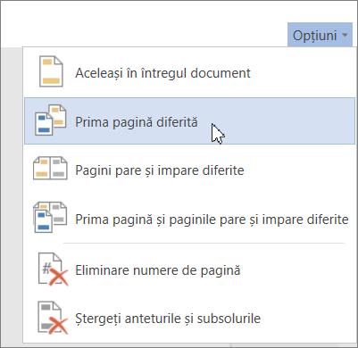 Opțiunea Prima pagină diferită pentru anteturi și subsoluri