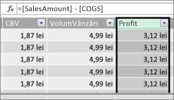 Profit Column in Power Pivot table