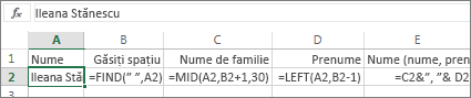 Formule care fac conversia unui nume complet la Nume, Prenume