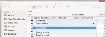 Faceți clic dreapta pe meniu pentru a recovea un fișier din Coșul de gunoi de pe un Mac