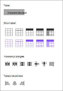 Inserare tabel opțiuni