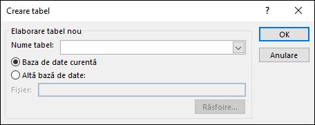 Caseta de dialog Creare tabel din Access vă permite să selectați opțiuni pentru interogarea de creare a tabelului.