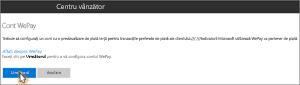 Captură de ecran: Configurarea contului WePay în Microsoft Bookings
