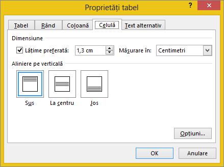 Fila celulă din caseta de dialog Proprietăți tabel