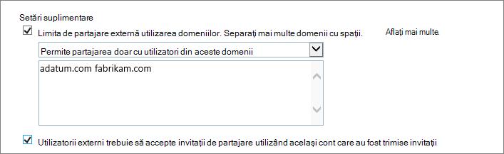 Setări suplimentare pentru a limita partajării externe în Office 365 SPO