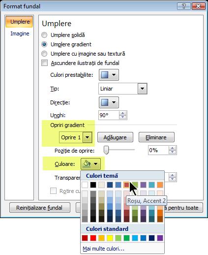 Pentru o schemă de culori de gradient particularizată, selectați o oprire de gradient și alegeți o culoare.