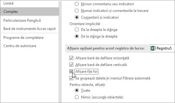 Afișarea selectorilor de foi în opțiunile Excel
