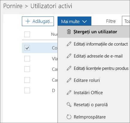 Ștergeți un utilizator din Centrul de administrare Office 365.