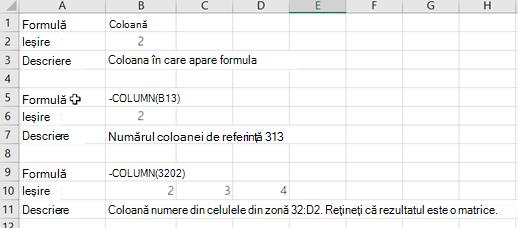 Exemple ale funcției COLUMN