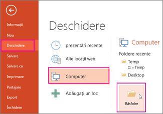 Încărcarea și aplicarea unui șablon PowerPoint