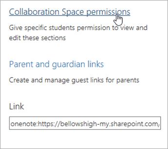 Link permisiuni de spațiu de colaborare în cadrul gestiona blocnotesurile școlare, aflată deasupra părinte și guardian linkuri.