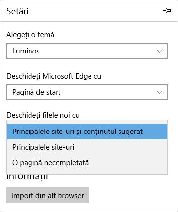 """Setări Microsoft Edge pentru afișarea filei """"My Office 365"""""""