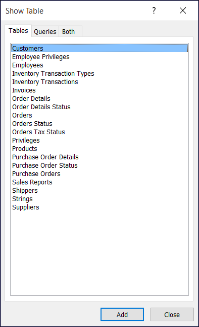 Caseta de dialog Afișare tabel din Access afișând numele de tabel