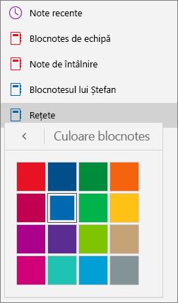 Afișează paleta de culori Blocnotes