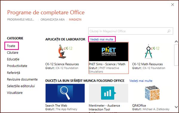 Caseta de dialog Programe de completare Office cu Toate și linkul Vedeți mai multe evidențiat